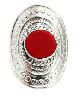 Red Coral Stone Adjustable Ring Women Fashion Jewelry India
