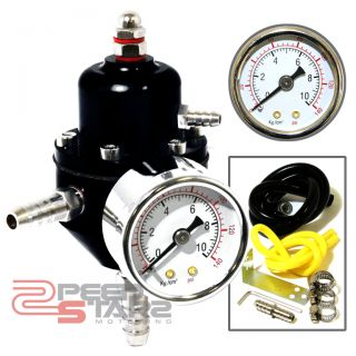 Aluminum Fuel Pressure Regulator 0 140 PSI Water Filled Gauge