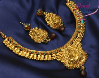 Antique Necklace Temple Jewellery South Indian Free Earrings New
