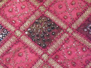 Pink Big Wall Art Indian Textile Decoration Kundan Work Sari Wall
