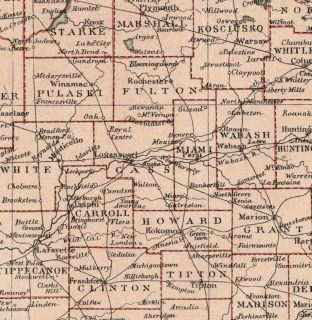 Indiana Authentic 1889 Map showing Counties, Cities, Topography