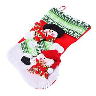 Large Size Knit Argyle Snowflake Christmas Stockings (43cm, Random