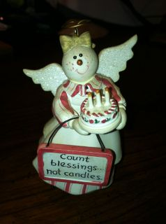 Sandi Gore Evans Birthday Angel Snowman Ornament Count Blessings not