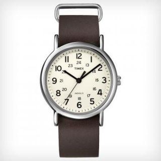 Timex Mens Weekender Brown Leather Strap Indiglo T2N893