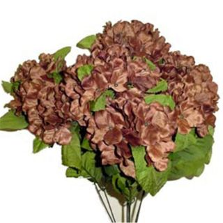 in DARK BROWN Satin Hydrangea Bush Silk Flowers Artificial Arrangement