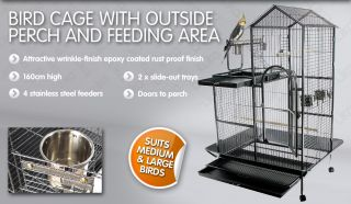 Large Indoor Bird Budgie Parrot Wire Cage Aviary Perch Portable on