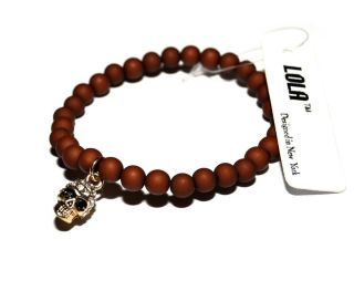 New Unique Stretches Crystal Baby Skull Bracelet Brown Beaded