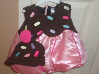 Infant Baby Pink Brown CUPCAKE Birthday Costume 6 12 months NEW