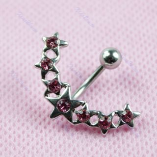 Star Crystal Rhinestone Belly Navel Button Bar Ring Piercing