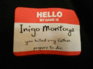 PRINCESS BRIDE Hello My Name is Inigo Montoya Adult Black T shirt size