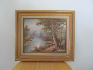 oil painting wood frame 13 x11 1 2 signed C INNESS landscape lake pink