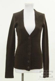 Inhabit Brown Cashmere V Neck Cardigan Size Medium