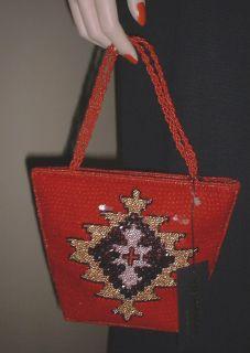 Inge Christopher Red Beaded Evening Bag Purse