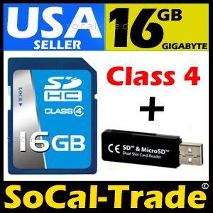 New Intel 16GB SD HC Class 4 Memory Card Micro Reader