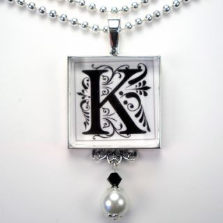 Initial Letter K Monogram Pearl Charm Pendant Necklace