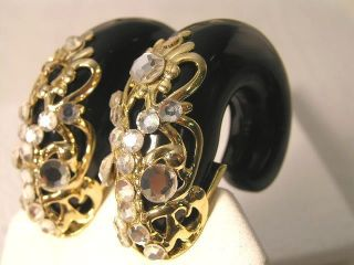 Inna Citrine Chunky Black Lucite clip on Earrings French Designer