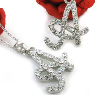 Adorable Initial Letter A Rhinestone Pendant Necklace A