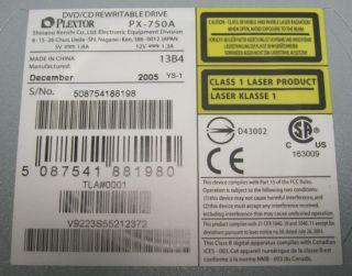 Plextor Internal IDE CD RW DVD RW Combo Drive PX 750A