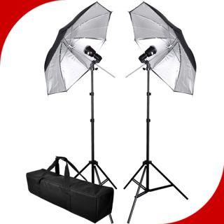 Studio Silver Umbrella Flash Lighting Kit Photography Light Stand Set