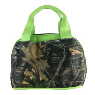 Camo Print Insulated Cooler Lunch Tote Lime Green Trim