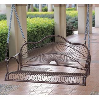 International Caravan Iron Patio Sun Ray Porch Swing 3484