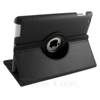 360 Rotating Black iPad2 iPad3 PU Leather Case Smart Cover Stand