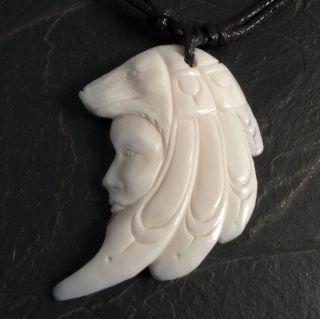 Bone Pendant Wolf Carved Indian Shaman Amulett Native Tribal Necklace