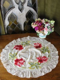 Antique Victorian Society Silk Embroidered Roses Lace Centerpiece