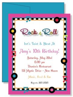 Custom Personalized Rock Roll 50s Birthday Party Invitations