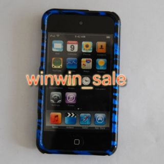 Apple iPod Touch 4 G 4G 4th 8GB 32GB 64GB Blue Zebra Hard Case Cover