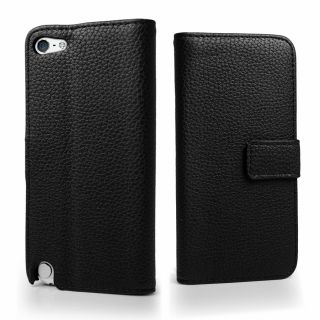 Black PU Wallet Leather Case Cover for Apple iPod Touch 5 + Screen