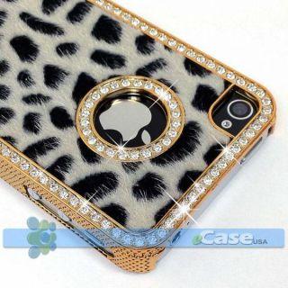 Black Cheetah Leopard Print Diamond Crystal Bling Case iPhone 4 4S NEW