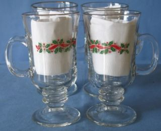 Libbey Christmas Holly Irish Coffee Cup Glasses Arbys Glassware