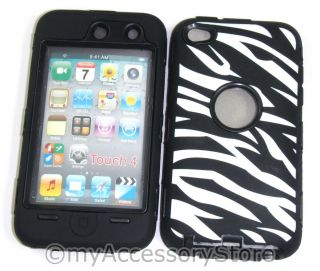 iPod Touch 4 4th GEN Zebra Design Armor Dual Layers Rugged Defender