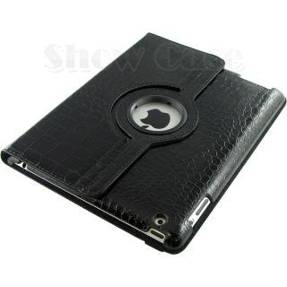 360 Rotating iPad2 iPad3 Crocodile PU Leather Case Smart Cover Stand