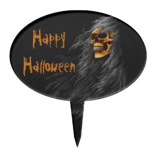 Hairy Scary Skull Happy Halloween Cake Topper
