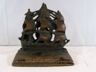 Antique Cast Iron Old Ironsides Book Ends 1920S