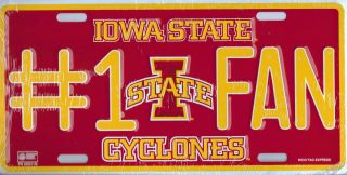 Iowa State Cyclones NCAA #1 Fan Aluminum Metal License Plate 6x12 Tag
