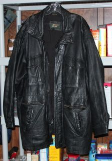 LEATHER COAT JACKET IRVINE PARK MEN WORN N JUST RIGHT 62 CHEST 62 HIPS