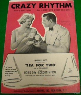 Sheet Music Crazy Rhythm Tea for Two 1928 Doris Day
