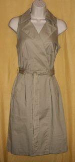Isadora Collection Beige Khaki Wrap Dress Top Collar Lapels Belt