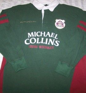 Michael Collins Irish Whiskey Rugby Shirt Large Long Sleeve Polo