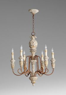Style 6 Light Chandelier Wrought Iron Wood Tuscan Decor Six Lt