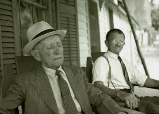 Negative 2 Old Men Relaxing on Front Porch 1940s Character Study