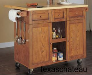 Style Butcher Block Top Kitchen Island Table Cart Furniture New