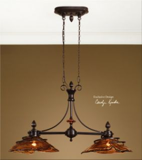 Oil Rubbed Bronze Glass Kitchen Island Light Tuscan