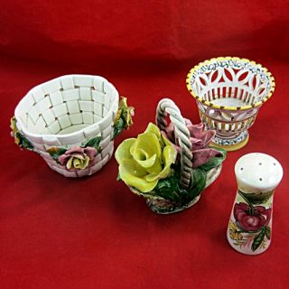 Italian Ceramics Mixed Lot Includes Capo Di Monte Two Rose Basket