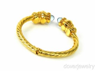 Italian 6 00ct Blue Topaz 14k Gold Bangle Cuff Bracelet