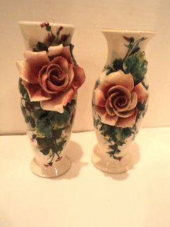 Pair of Antique Italian Hand Sculpted Rose Vases, Hand Painted and