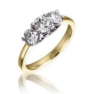 Engagement Ring 1 Carat Total Weight 3 Diamonds 18K Yellow Gold